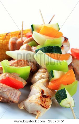 Detail of grilled meat and vegetable