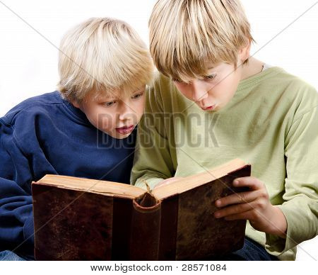 2 blonde boys reading
