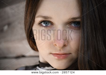 Grey Scrutiny Of Teenage Girl, Close-Up