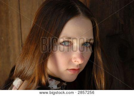 Clear Grey Eyes Of Teenage Girl