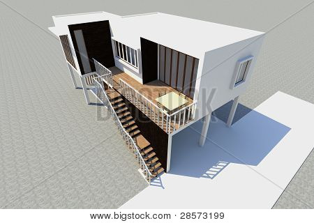 3D modernes Haus gerendert