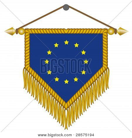 vector pennant with the flag of European Union