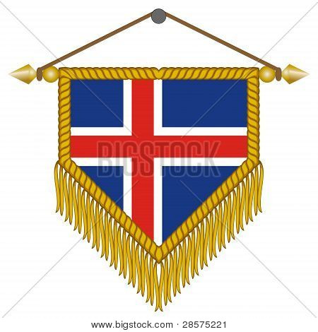 vector pennant with the flag of Iceland