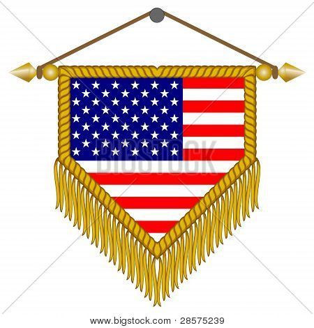 vector pennant with the flag of USA America
