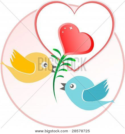 Red Love Bird With Heart Balloons Over Beige Vector Background