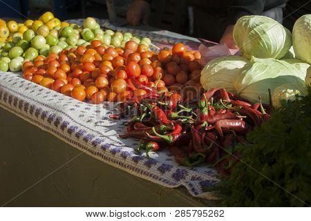 Vegetables In The Market Bazaar