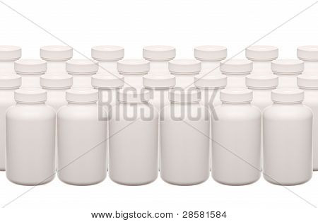 Background Of White Pills Containers