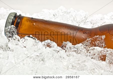 Close-Up Of Neck, Bottle Of Beer On Ice
