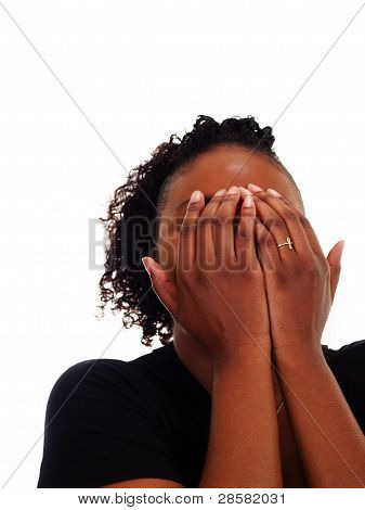 Young African American Woman Hands Covering Face