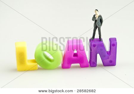 Loan word and toy business man