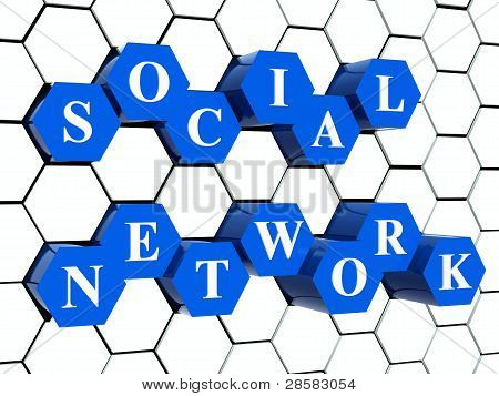 Social Network - Blue Hexahedrons In Cellular Structure