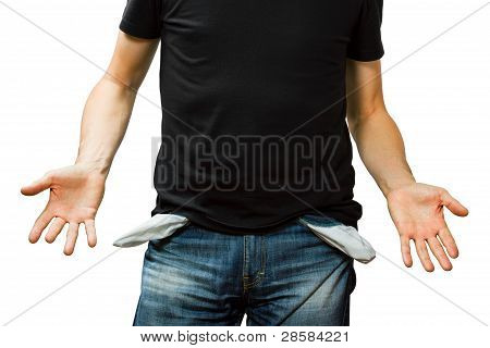 Man Showing His Empty Pocket, No Money