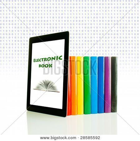 Row Of Colorful Books And Tablet Pc Over White Background
