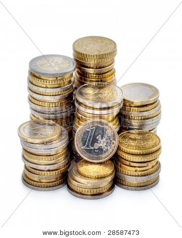 Different height stacks of Euro coins isolated on white background.