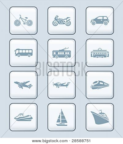 Modern and vintage road, air and water vehicles icon-set