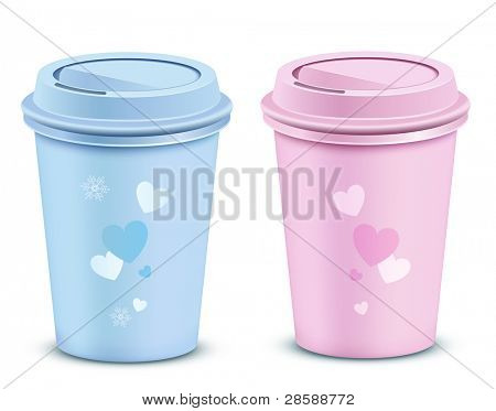 Valentine's coffee cups. Vector illustration