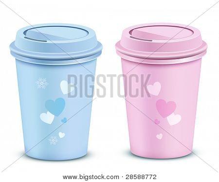 Copos de café de namorados. Ilustração vetorial