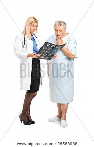 Senior man with his doctor, looking at the results of his CT scan isolated on white background