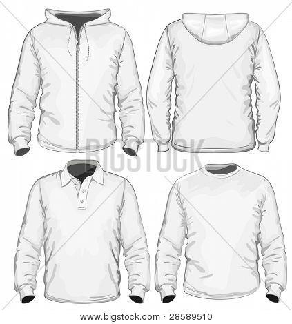 Amazing vector set. Men's polo-shirt, t-shirt and sweatshirt (long sleeve) design template. No mesh.