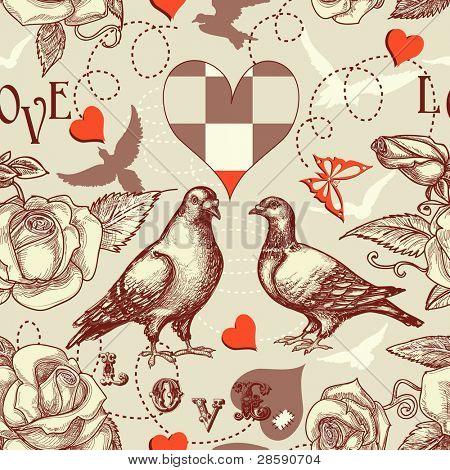 Love birds seamless pattern