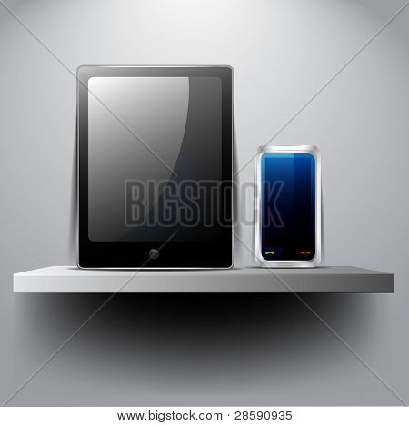 Vector tablet pc and smart phone on shelf