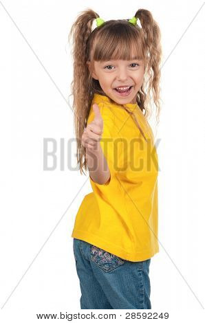 Portrait of little girl giving you thumbs up over white background