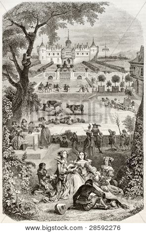 The Beatiful Season old graphic representation. Created by Wattier, published on Magasin Pittoresque, Paris, 1845
