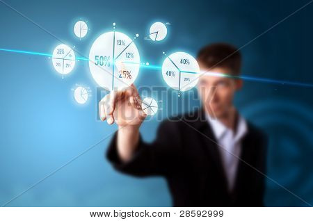 Businessman pressing pie chart button, futuristic technology
