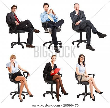 Collection of full length portraits of business people sitting on a chair