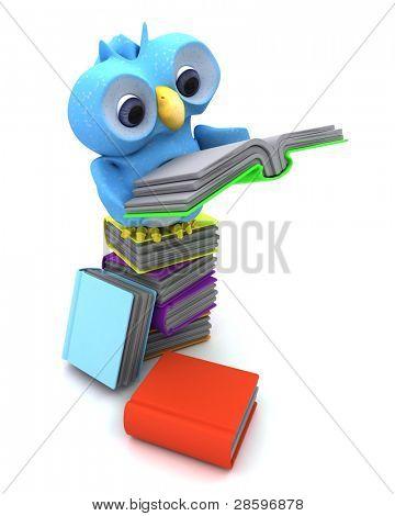 Render 3D de un personaje lindo pájaro azul