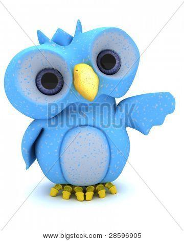 3D Render eines Zeichens süße blaue Vogel