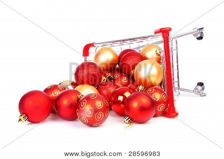 Falling Shopping Cart With Christmas Balls