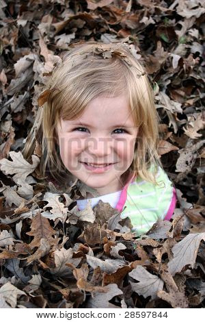 Young Blonde Girl Smiling in Leaf Pile