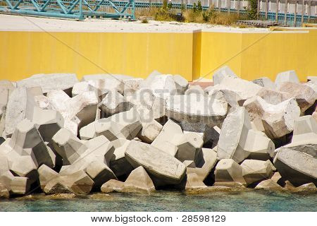 Manufactured Stone Sea Wall By Yellow Concrete