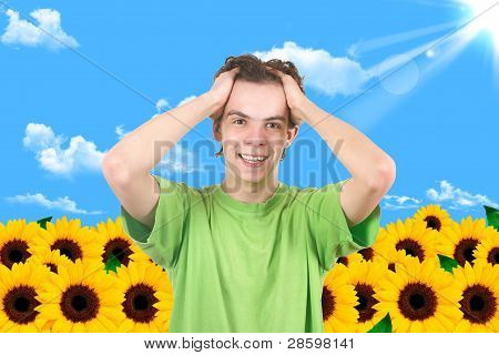The Man In A Garden. Sunflower