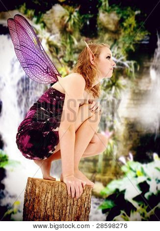 Beautiful teenage girl in fairy costume during LARP event, Live Action Role Play.
