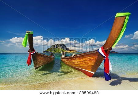 Longtail boats, Tropical beach, Andaman Sea, Thailand