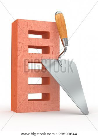 Trowel and brick on white background. 3d