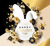 Easter Card With Bunny Rabbit Shape Frame, Spring Flowers And Gold Eggs On Modern Geometric Backgrou poster