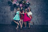 Full Length Body Size View Of Four Nice Lovely Fascinating Chic Attractive Gorgeous Cheerful Positiv poster