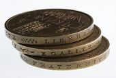 stock photo of liberte  - liberty equality fraternity words engraved on edge of old French coins 10 Francs 1977  - JPG