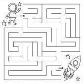Maze Game For Kids, Help The Astronaut Find Right Path To The Rocket. Coloring Page. Vector Illustra poster