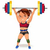Not Female Professions, Strong Muscular Woman Weightlifting In Sprt Sports Suit Bikini And Bra Lifti poster