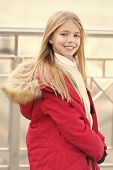 Vacation, Travelling Concept. Girl With Blond Long Hair Smile Outdoor. Kid Enjoy Autumn Day On Blurr poster