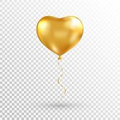 Gold Heart Balloon On Transparent Background. Foil Air Balloon For Party, Christmas, Birthday, Valen poster