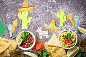 Mexican Cinco De Mayo Party Concept. Guacamole, Salsa, Nachos And Tequila poster