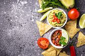Guacamole, Tomato Sauce Salsa And Chips Nachos. Traditional Mexican Food. poster