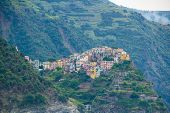 The Town Of Corniglia, One Of The Five Small Towns In The Cinque Terre National Park, Italy. View Fr poster