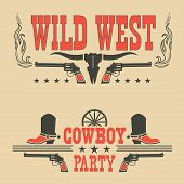 Set Of Cowboy Labels And Western Symbols .vector Decoration For Cowboy Party poster