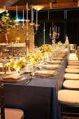 picture of wedding table decor  - Table setting at a luxury wedding reception - JPG